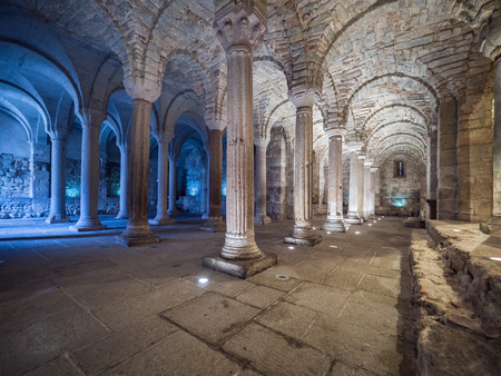 Abbadia San Salvatore, Italy -  April 24, 2019: Interior with pillars in a crypt. Editorial