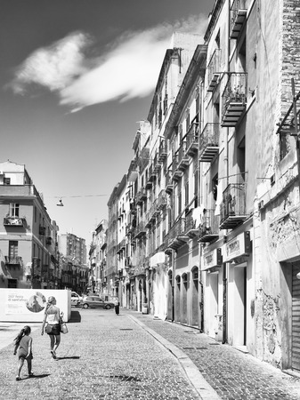 Cagliari, Italy - August 17, 2016: The characteristic architecture of buildings in the old quarter of Cagliari, Italy.