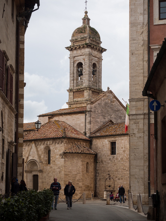 San Quirico dorcia, Italy - April 23, 2019: Romanesque-Gothic church built in the 13th century in San Quirico dorcia, Italy. Editorial