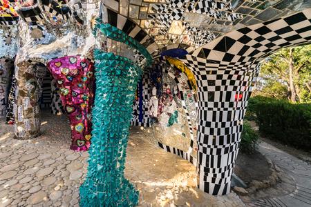 Pescia Fiorentina, Italy - June 24, 2017: The Tarot Garden is a sculpture garden based on the esoteric tarot, created by the French artist Niki de Saint Phalle.