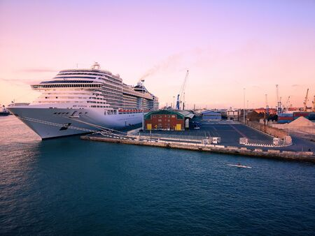 Livorno, Italy - August 3, 2019: Luxury cruise ship docked at Livorno port, Italy.