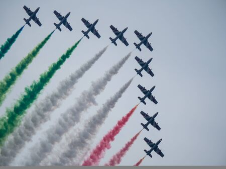Aerobatic airshow with italian flag colors. Reklamní fotografie