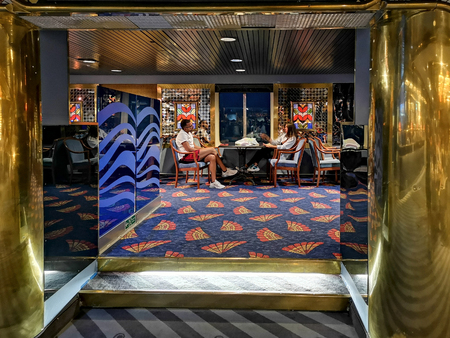 Civitavecchia, Italy - August 17, 2019: Interior of luxury cruise ship docked at Civitavecchia port, the most important port close Rome, Italy.