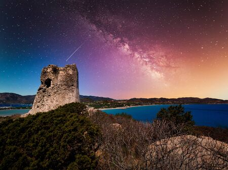 A view of the Spanish watchtower at night, Villasimius, Sardinia, Italy.