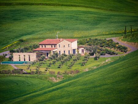 Hilly Tuscan landscape in spring. Green winding hills with scattered houses.