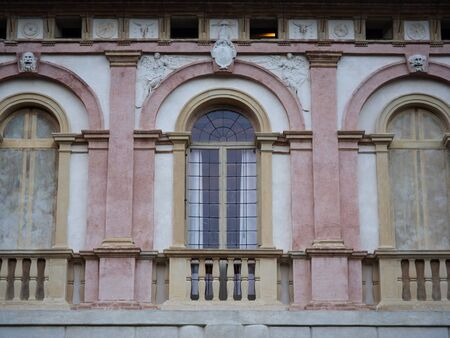 Detail of the facade of an ancient Italian villa.