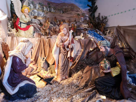 Ossana, Italy - December 26, 2019: Nativity scene made with handmade ceramic figurines. 新聞圖片