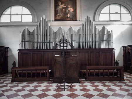 Padua, Italy - April 2, 2018: Ancient organ inside the abbey of Carceri.