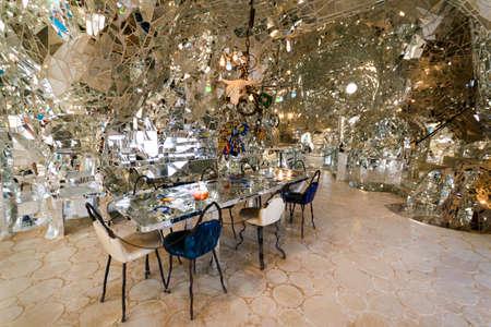 Capalbio, Italy -  June 24, 2017: The Tarot Garden, in italian: 'Giardino dei Tarocchi', is an awesome sculpture garden, based on the esoteric tarot, created by Niki de Saint Phalle, Tuscany region.