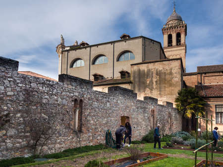Padua, Italy - April 2, 2018: The botanical garden of the abbey of Santa Maria delle Carceri in the province of Padua founded around the year 1000.