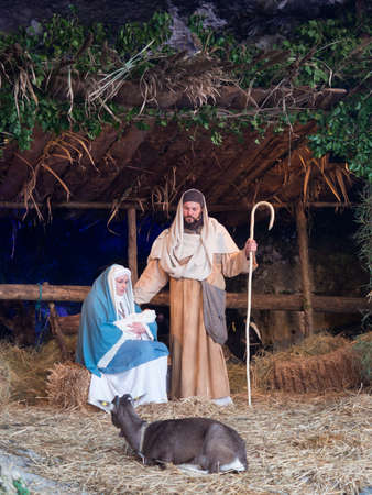 Vicenza, Italy - December 29, 2019: The holy family in the living nativity scene made on the occasion of Christmas.