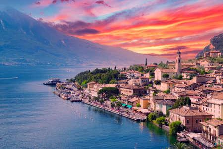 Panorama of Limone sul Garda, a small town on Lake Garda, Italy.
