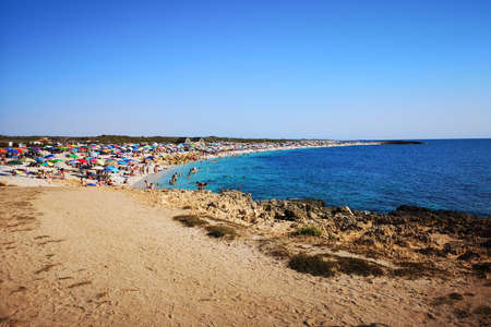 Villasimius, Italy - August 14, 2017: Transparent and turquoise sea in Villasimius. Sardinia, Italy.