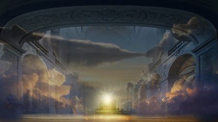 atmospheric: Atmospheric Throne Room with Clouds Editorial