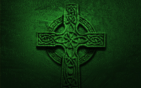 Celtic Cross on Green Background