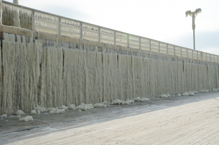wintriness: Frozen breakwater after winter storm in Varna, Bulgaria Stock Photo