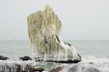 wintriness: Frozen Rock near the Seaside