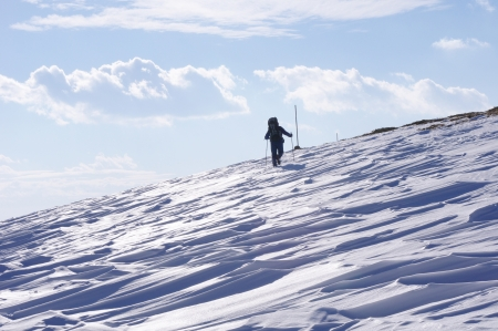 wintriness: Winter hiking in the Mountain  Stock Photo