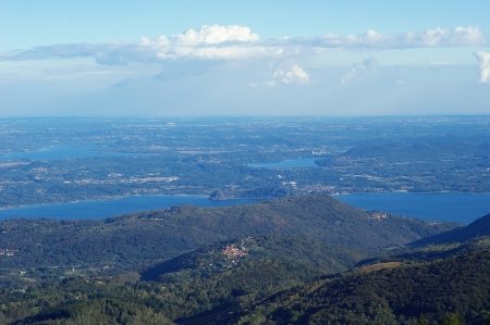 Panorama of Lakes and Northern Italy from mountain Mottarone, part of Alps