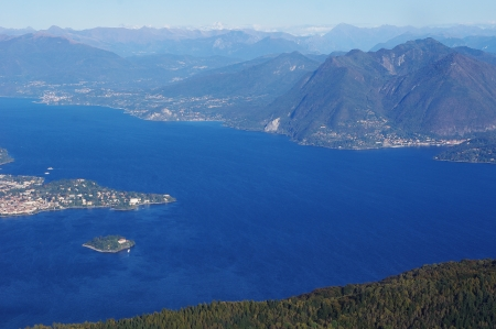 maggiore: Panorama of Lake Maggiore and Isola Madre Island from mountain Mottarone part of the Alps, Northern Italy, Piedmont
