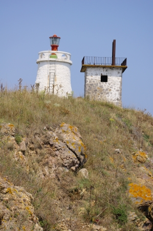 maslen: Lighthouse on the peninsula Maslen nos, Primorsko, Bulgaria Stock Photo