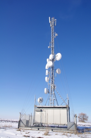 gsm: Gsm antenna transmitter in the field Stock Photo