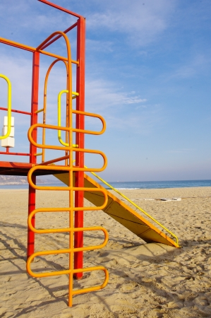 Colorful children playground on Beach Stock Photo - 17428810