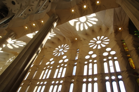 Rose windows and reflection of daisies, Sagrada Fam�lia, Barcelona photo