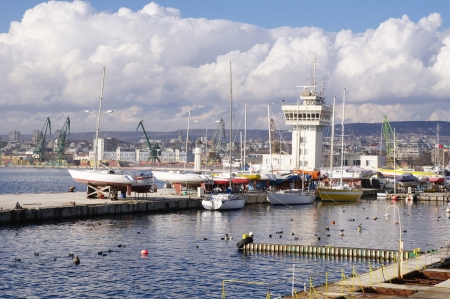 Port Varna with yachts in winter ,  Bulgaria
