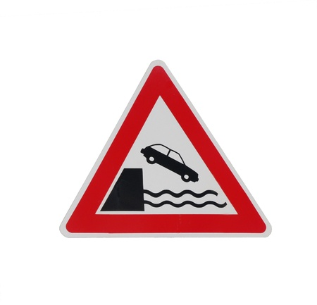 Road sign on jetty photo