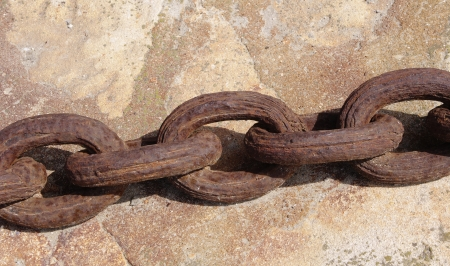 Old rusty anchor chain