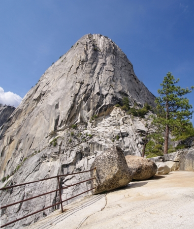 half dome: Summit Half dome in the Yosemite national park Stock Photo