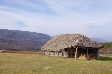 hayloft: Hayloft from interwoven sticks plastered with mud, Bulgaria