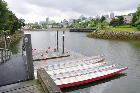 Five rowboats in False Greek,Vancouver , British Columbia, Canada photo