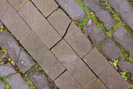 floor covering: Old wooden street floor Stock Photo