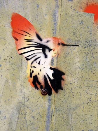 sheet iron: Painting of a bird on old green sheet iron Stock Photo