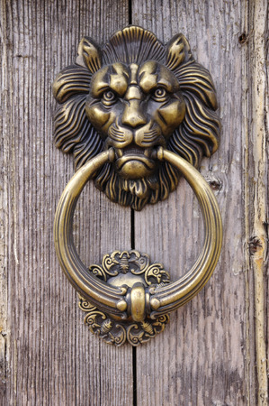 Lion head, Door knocker on old wooden door photo