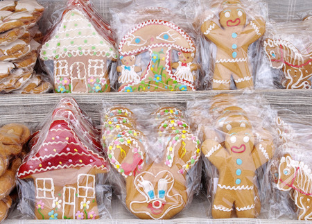 cellophane: Sweet colorful gingerbread for gift wrapping in cellophane Stock Photo
