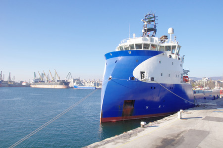 ship bow: Blue and white inverted bow ship  in sunny day Stock Photo