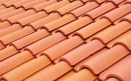 roof top: New roof with ceramic tiles closeup