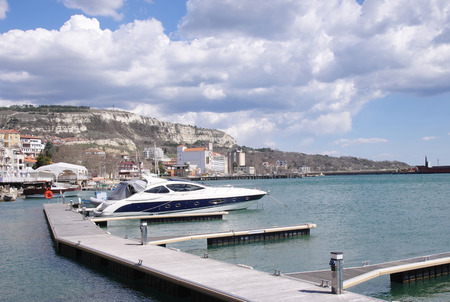 balchik: Marine harbor with boats in town Balchik, Bulgaria on Black Sea Stock Photo
