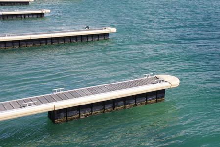 balchik: Piers for boats in Black Sea, city Balchik, Bulgaria Stock Photo