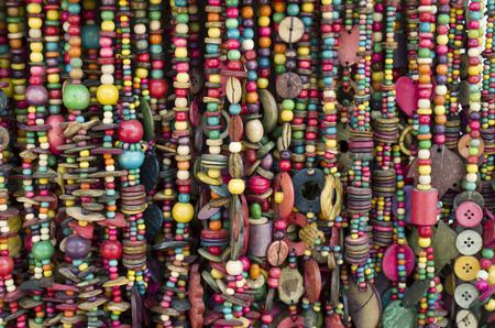 Many new necklaces from coconut shell and wood bead Banque d'images