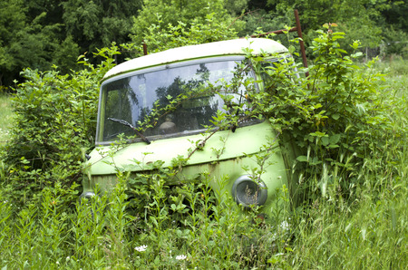 abandoned car: Old abandoned overgrown car in meadow
