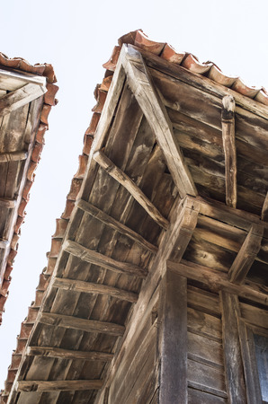 joists: Old  two wooden eaves on close house  Bulgaria Europe