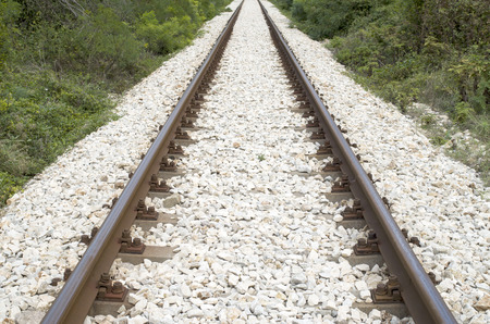 look down: The railway look down on train tracks Stock Photo