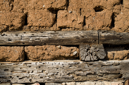 adobe wall: Wall of old adobe house closeup Stock Photo