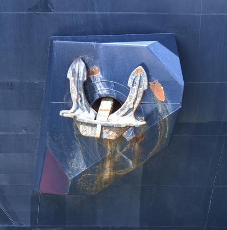 navy ship: Rusty anchor of  navy ship closeup Stock Photo