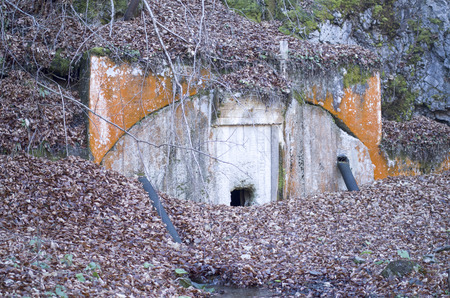 wadded: Concrete entrance to the old closed mine