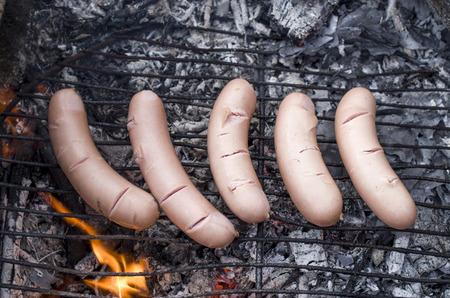 ardor: Grilled sausages on campfire closeup in summer day